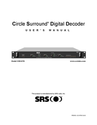 SRS Labs CSD-07D User Manual