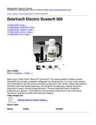 Metropolitan Vacuum Cleaner Company ED500 ED-500 User Manual