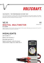 Voltcraft VC-11 Digital-Multimeter, DMM, 2000 counts CAT III 250 V VC11 Data Sheet
