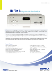 Humax IR-FOX C Digital Cable Set-Top Box IRFOXC Leaflet