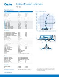 Genie TZ-50 Specification Sheet