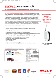 Buffalo 125Mbps High-Speed Mode™ Wireless Cable/DSL Smart Router WHR-G54S-1 Leaflet