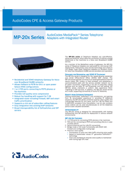 Audiocodes MediaPack Series Telephone Adapters with Integrated Router MP-202/2FXS/SIP MP-202/2FXS Leaflet