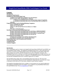 SimpleTech SmartMedia (SM) Card/Adapter User Manual