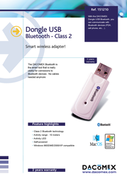 Dacomex Bluetooth USB Adapter 151210 Leaflet