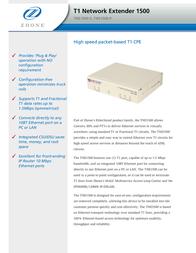 Zhone T1 Network Extender 1500 TNE1500-P-US Leaflet