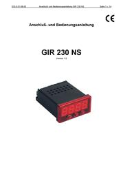 Greisinger GIR 230 NS 603289 Data Sheet