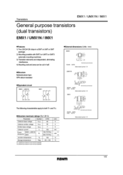 Rohm Semiconductor EMX1T2R Bipolar Transistor Emitter reverse voltage U(CEO) 50 V EMX1T2R Data Sheet