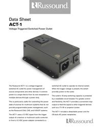 Russound ACT1 Triggered Outlet 9500-115592 Data Sheet