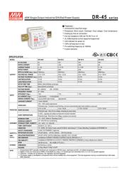 MEAN WELL DR-45-24 DIN-Rail Power Supply Unit, 45W 24V DC DR-4524 Leaflet