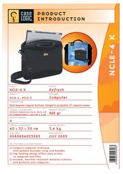 """Case Logic Black Neoprene Laptop Shuttle Case 15.4"""" NCLE4K Leaflet"""