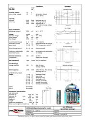 Ansmann Blister 4 X Accu, AA, 2700mAh 5030842 Data Sheet