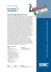 SMC 802.11g 2.4GHz 54Mbps Wireless PCI Adapter SMC2802WEU Data Sheet