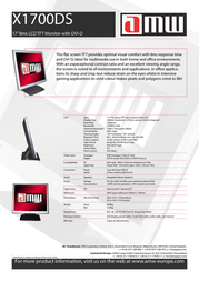 """AMW X1700DS - 17"""" TFT LCD Monitor X1700 Leaflet"""