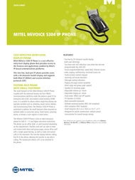 Mitel Networks MiVoice 5304 IP 51011571 Data Sheet