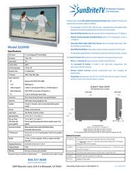 SunBriteTV 3220HD Specification Guide