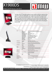 """AMW X1900DS - 19"""" TFT LCD Monitor X1900 Leaflet"""