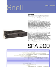 Snell Acoustics SPA 200 Leaflet