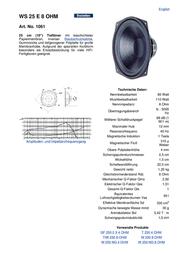 Visaton VS-WS25E/8 1061 Data Sheet