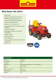 WOLF-Garten BluePower 105.200 H 13RT71RN650 Leaflet