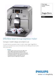Gaggia Automatic espresso machine RI9833/70 RI9833/70 Leaflet