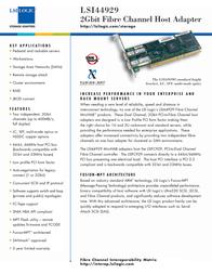 LSI 64-bit PCI Fibre Channel, Dual-Channel Optical Host Bus Adapter LSI44929OB Leaflet
