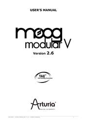 Arturia MOOG MODULAR 2.6 User Manual