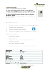 Esaver iConnect Wireless temperature sensor IC40 In/outdoors Max. range (open field) 100 m IC40 Data Sheet