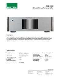 Rotel RB-1552 RB1552 Leaflet