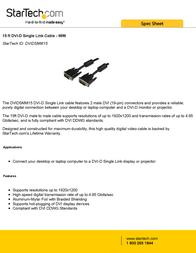 StarTech.com 15 ft DVI-D Single Link Cable - M/M DVIDSMM15 Leaflet