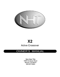 NHT X2 User Manual