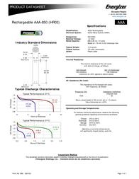 Energizer Rechargeable AAA 2 - pk 625996 Data Sheet