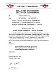 Ansmann ENERGY CHECK LCD 4000392 Declaration Of Conformity