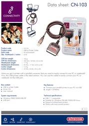 Sitecom USB to Printer Cable CN-103 Leaflet