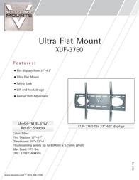 "Premier Mounts Universal Flat Mount for 37-63"" Displays (XUF-3760) XUF-3760 Leaflet"