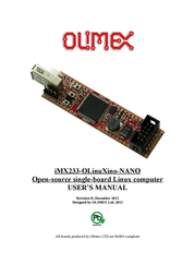 Olimex Open Source Hardware Embedded ARM Linux Single board computer with i.MX233 ARM926J @454Mhz IMX233-OLINUXINO-NANO IMX233-OLINUXINO-NANO User Manual