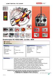 Carrera RC Quadcopter RtF incl. camera 503003 Data Sheet