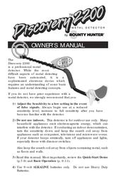 Bounty Hunter DISCOVERY 2200 User Manual