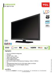 """Tcl LED TV 61 cm 24 """" L24E4103FR ATT.CALC.EEK A DVB-T, DVB-C, Full HD, CI+ Black (matt) L24E4103FR Data Sheet"""