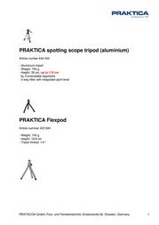 Praktica Flexpod 403924 Leaflet