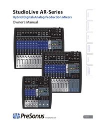 PreSonus StudioLive AR8 USB Owner's Manual