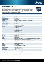 iiyama E481S-B 19 INCH MONITOR TFT VGA/DVI SPEAKERS 1280X1024 BLACK E481S-B Leaflet
