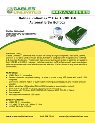 Cables Unlimited USB-3000 Leaflet