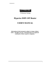 Hypertec ISDN 10T Router User Manual