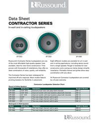Russound Contractor SP-C522 In-Ceiling Speaker - 2-way Speaker 3180-520600 Data Sheet