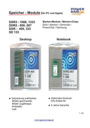 Power RAM 1Gb DDR 400MHz 3900499 Leaflet
