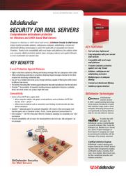 Bitdefender Security for Mail Servers, Win, 50-99 nodes, 1 Year 203020C Leaflet