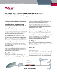 McAfee Secure Web Gateway 3300 Appliance RI3300SWGAA Data Sheet