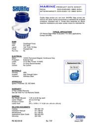 Shurflo Low voltage submersible pump 355-020-00 1500 l/h 2.5 m 355-020-00 Data Sheet