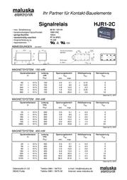 Tianbo Electronics HJR1-2C-L-12VDC PCB Mount Relay HJR1-2C-L-12VDC Data Sheet